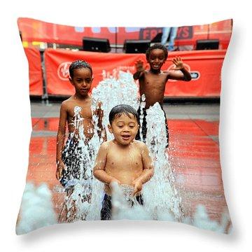 Kids Summer Fun Throw Pillow by Valentino Visentini