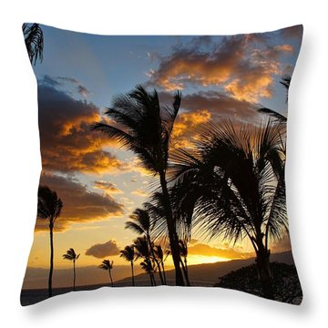 Throw Pillow featuring the photograph Kihei At Dusk by Peggy Hughes
