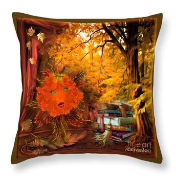 Kikki The Fluffy Flower Storyteller Throw Pillow by Giada Rossi