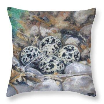 Killdeer Nest Throw Pillow by Lori Brackett