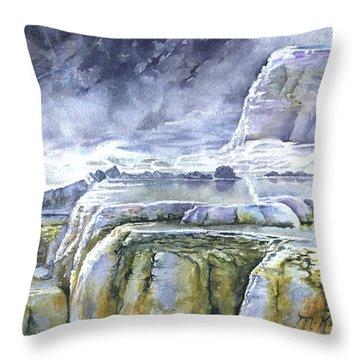 Killdeer Palisades - Mammoth Hot Springs Throw Pillow
