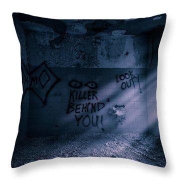 Throw Pillow featuring the photograph Killer Behind You - Abandoned Hospital Asylum by Gary Heller
