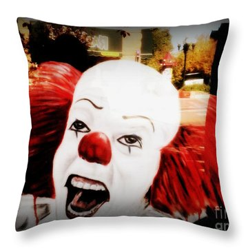 Killer Clowns On The Loose Throw Pillow by Kelly Awad