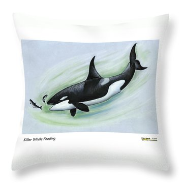 Killer Whale Feeding Throw Pillow