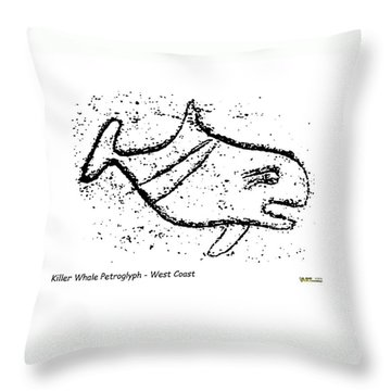 Killer Whale Petroglyph Throw Pillow