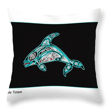 Killer Whale Totem Throw Pillow