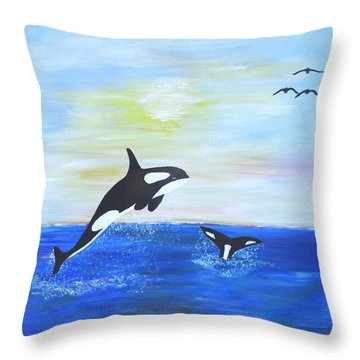 Killer Whales Leaping Throw Pillow