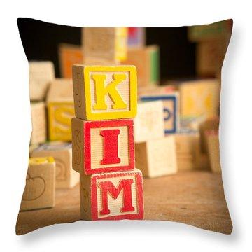 Kim - Alphabet Blocks Throw Pillow by Edward Fielding