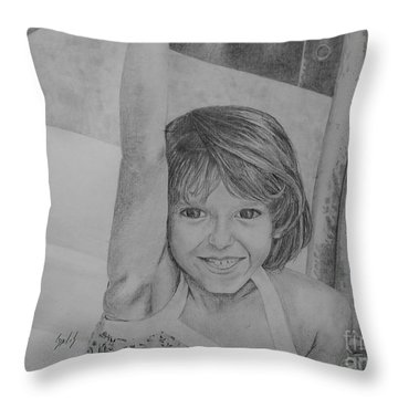 Kimberly In Black And White Throw Pillow by Lew Davis