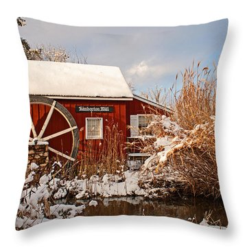 Kimberton Mill After Snow Throw Pillow