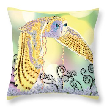 Throw Pillow featuring the digital art Kindred Light Owl by Kim Prowse
