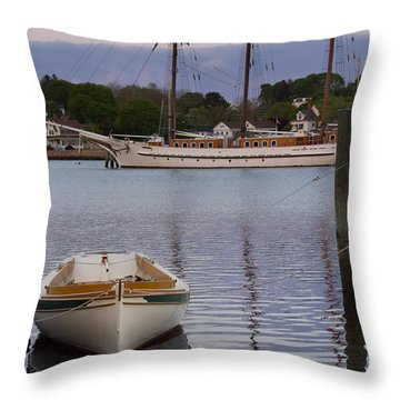 Kindred Spirits - Boat Reflections On The Mystic River Throw Pillow
