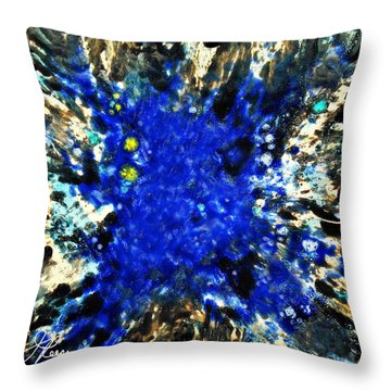 Kinetic Blue Throw Pillow by Joan Reese