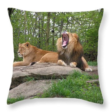 King And Queen Of The Jungle Throw Pillow