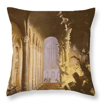 King Asa Of Judah Destroying The Statue Throw Pillow by Francois de Nome