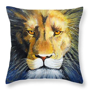 King Cat Throw Pillow by Jamie Frier