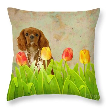 King Charles Cavalier Spaniel Throw Pillow by Liane Wright