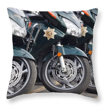 King County Police Motorcycle Throw Pillow