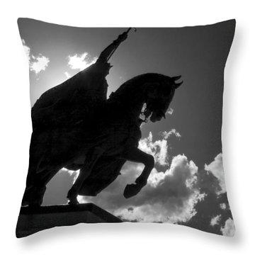 King Horseback Statue Black White Throw Pillow