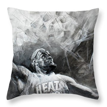 King James Lebron Throw Pillow by Ylli Haruni
