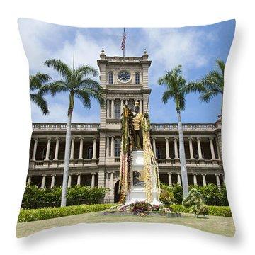 King Kamehameha In Leis Throw Pillow by Brandon Tabiolo