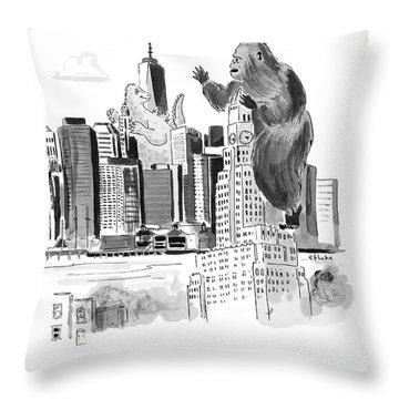 King Kong, Atop The Williamsburgh Savings Bank Throw Pillow