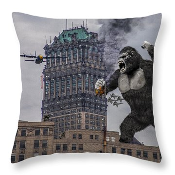 Throw Pillow featuring the photograph King Kong In Detroit At Wurlitzer by Nicholas  Grunas