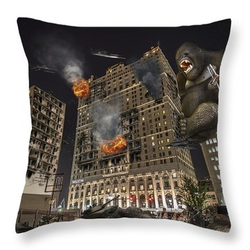 Throw Pillow featuring the photograph King Kong In Detroit Westin Hotel by Nicholas  Grunas