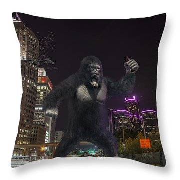 Throw Pillow featuring the photograph King Kong On Jefferson St In Detroit by Nicholas  Grunas