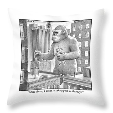 King Kong Stands In A Large City Throw Pillow