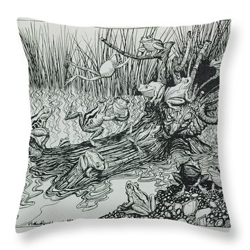 King Log, Illustration From Aesops Fables, Published By Heinemann, 1912 Engraving Throw Pillow