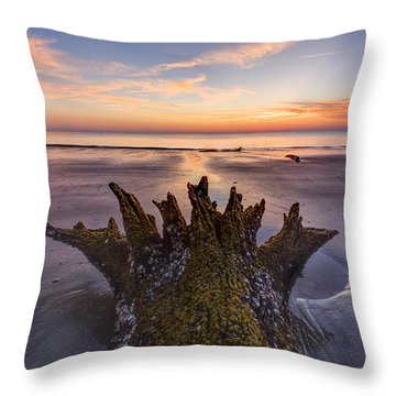 King Neptune Throw Pillow by Debra and Dave Vanderlaan