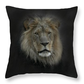 King Of Beasts Portrait Throw Pillow by Ernie Echols