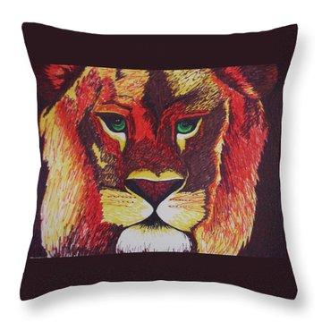 Lion In Orange Throw Pillow