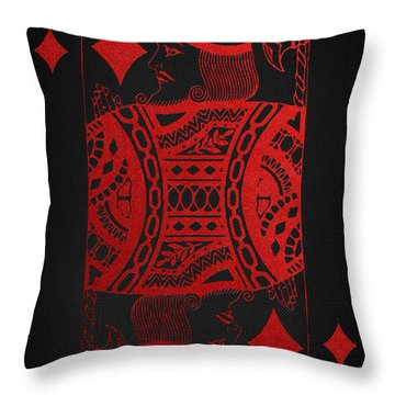 King Of Diamonds In Red On Black Canvas   Throw Pillow