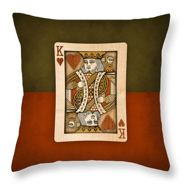 King Of Hearts In Wood Throw Pillow