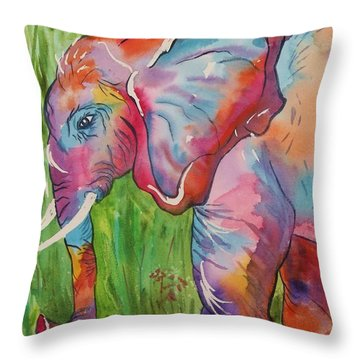 King Of The Elephants Throw Pillow by Ellen Levinson