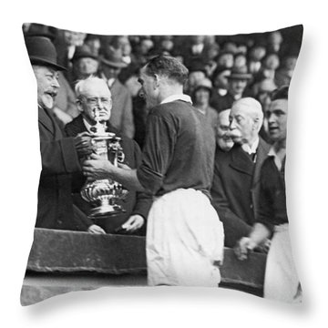 King Presents Soccer Trophy Throw Pillow
