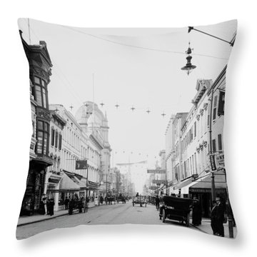 King Street In Charleston South Carolina Circa 1910 Throw Pillow