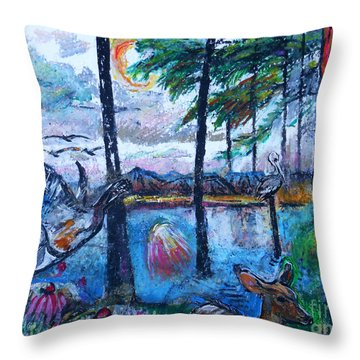 Kingfisher And Deer In Landscape Throw Pillow by Stan Esson
