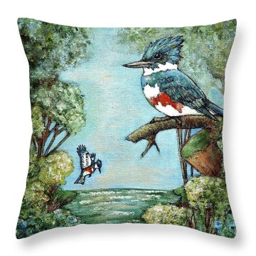 Throw Pillow featuring the painting Kingfishers Cove by VLee Watson