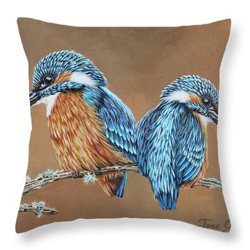 Throw Pillow featuring the painting Kingfishers by Jane Girardot