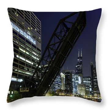 Kinzie Street Railroad Bridge At Night Throw Pillow