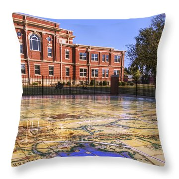 Kiowa County Courthouse With Mural - Hobart - Oklahoma Throw Pillow by Jason Politte