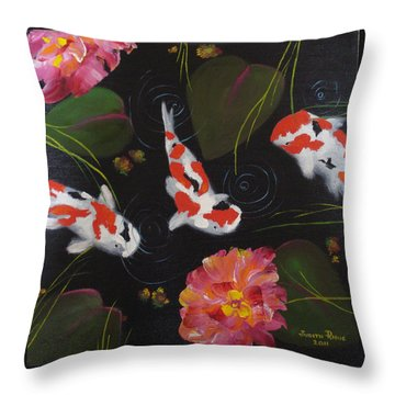 Throw Pillow featuring the painting Kippycash Koi by Judith Rhue