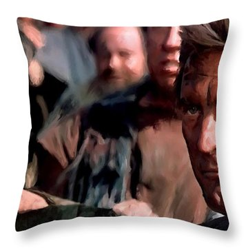 Kirk Douglas And Tony Curtis In The Film Spartacus Throw Pillow