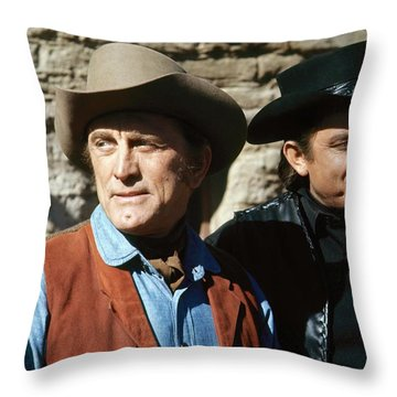 Throw Pillow featuring the photograph Kirk Douglas Johnny Cash A Gunfight  Old Tucson Arizona 1971 by David Lee Guss