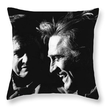 Throw Pillow featuring the photograph Kirk Douglas Laughing Johnny Cash Old Tucson Arizona 1971 by David Lee Guss