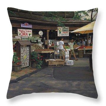 Kirkwood Farmer's Market Throw Pillow by Don  Langeneckert