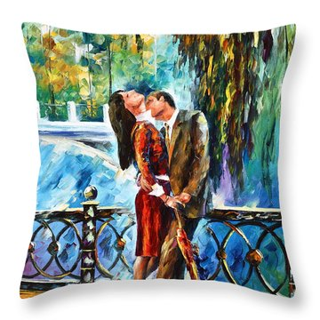 Kiss After The Rain New Throw Pillow by Leonid Afremov
